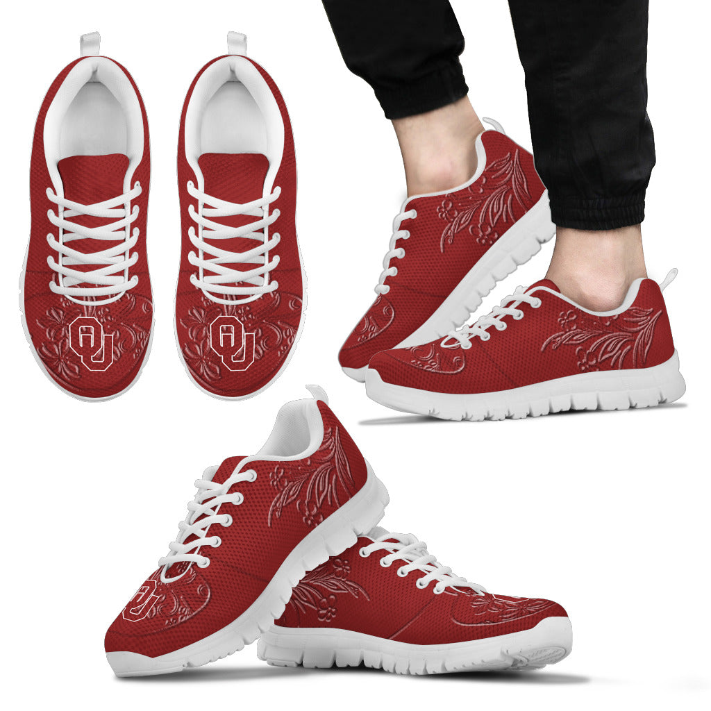 Lovely Floral Print Oklahoma Sooners Sneakers
