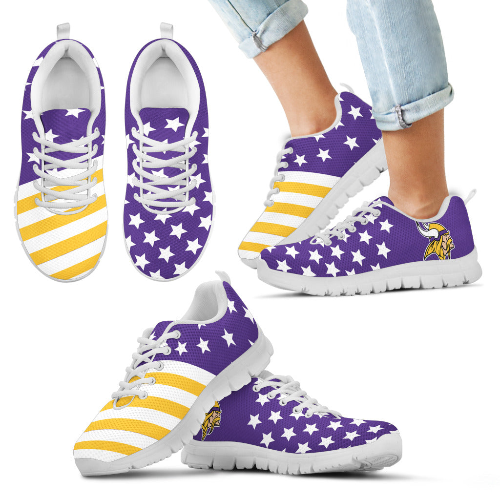 America Flag Full Stars Stripes Minnesota Vikings Sneakers