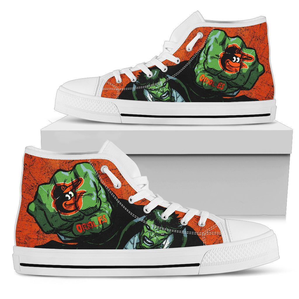 Hulk Punch Baltimore Orioles High Top Shoes