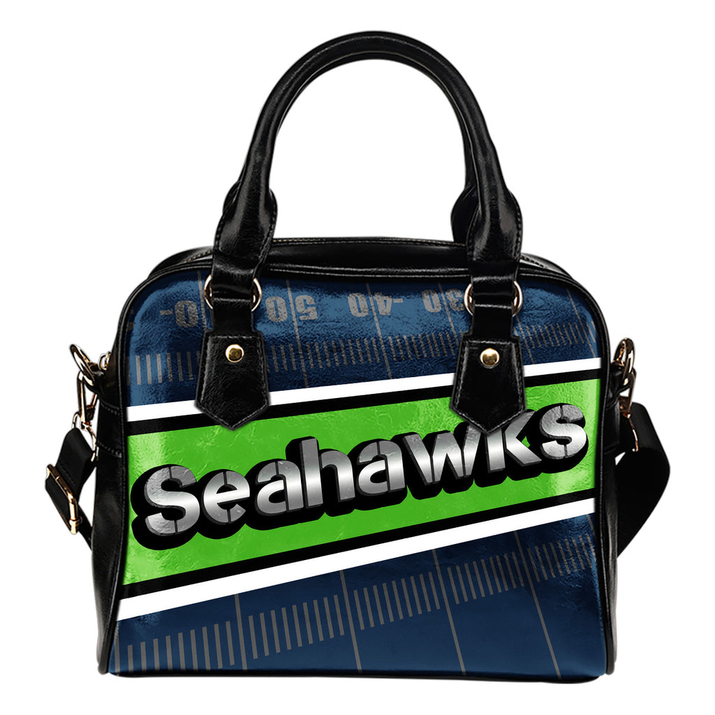 Seattle Seahawks Silver Name Colorful Shoulder Handbags