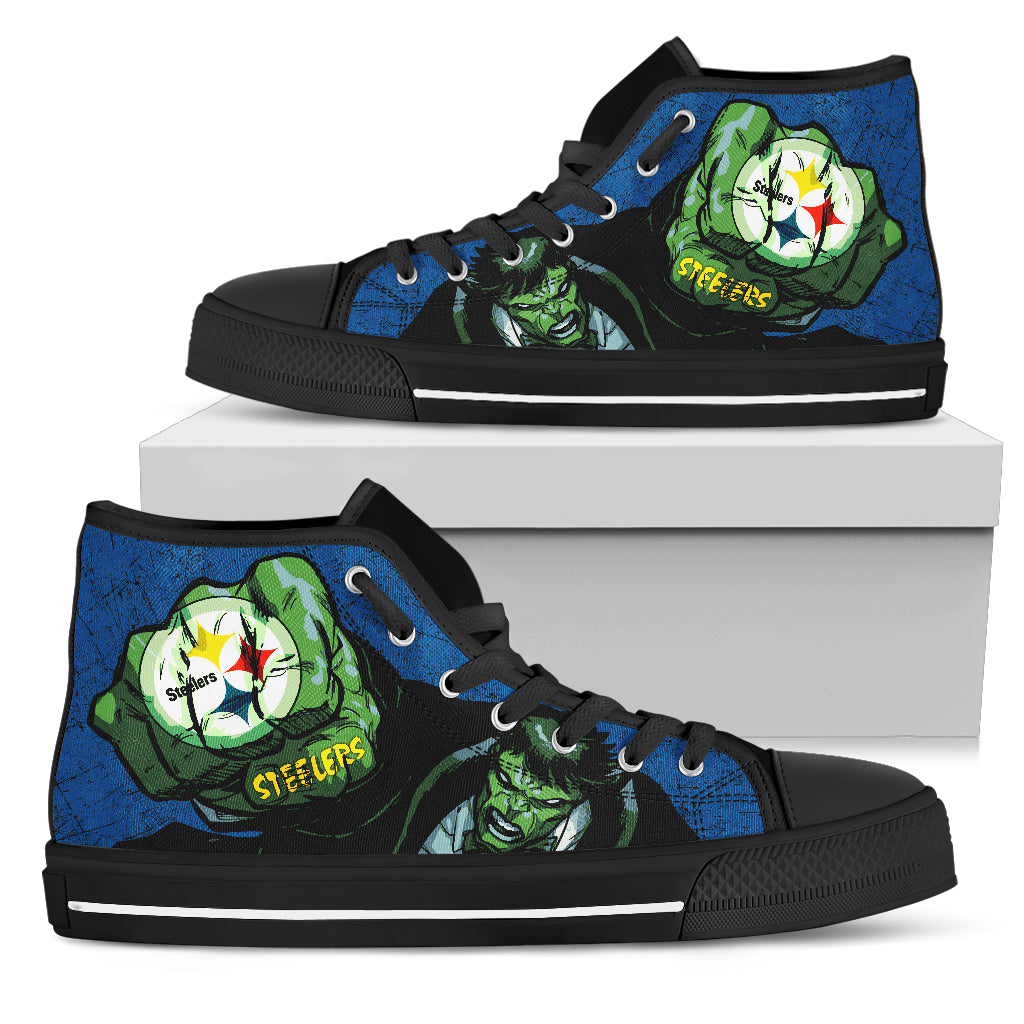 Hulk Punch Pittsburgh Steelers High Top Shoes