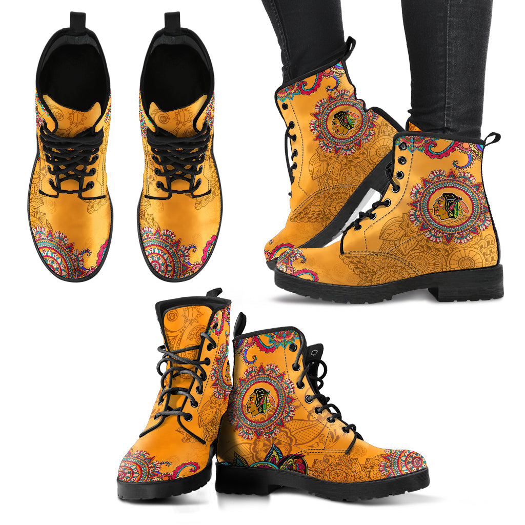 Golden Peace Hand Crafted Awesome Logo Chicago Blackhawks Leather Boots