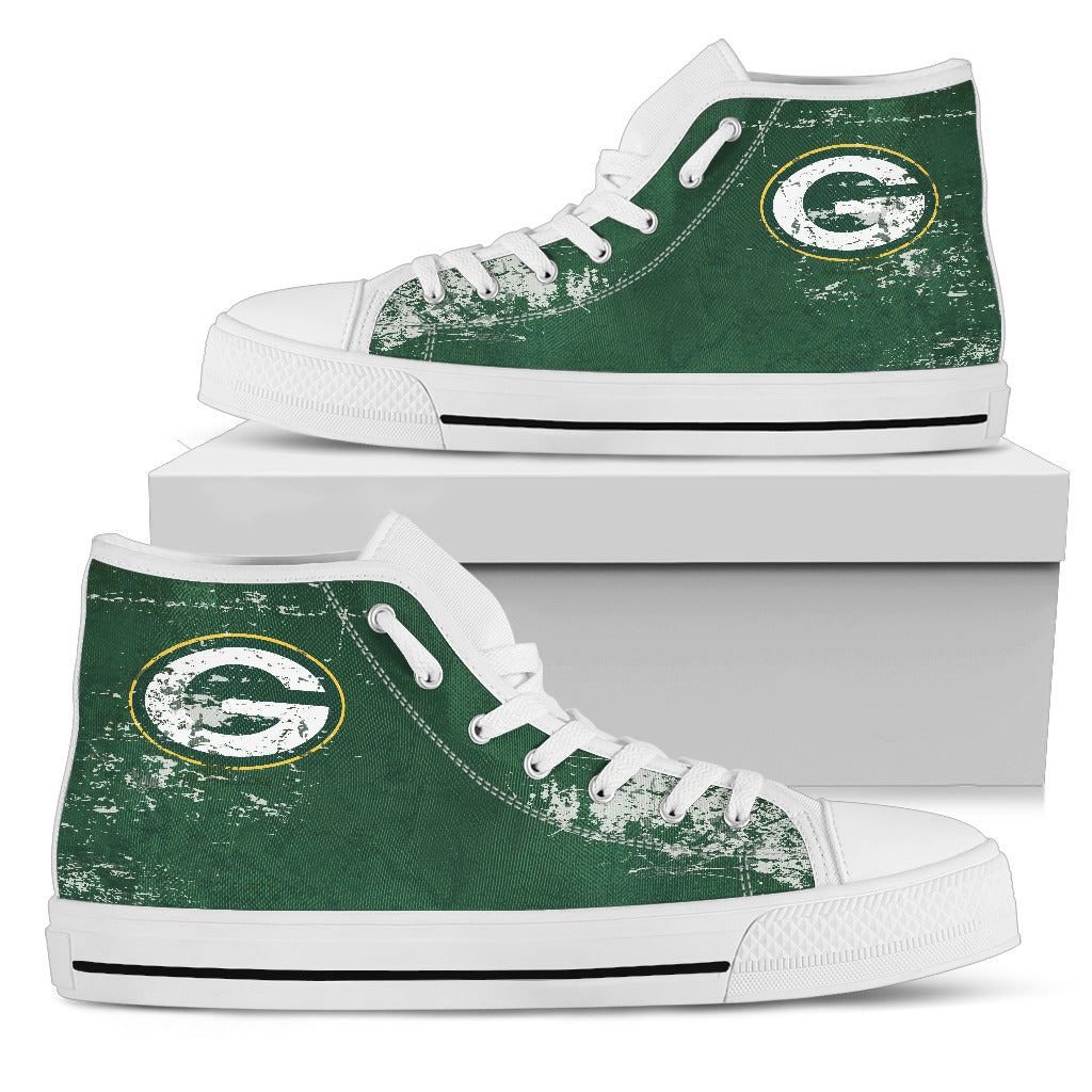 Grunge Vintage Logo Green Bay Packers High Top Shoes