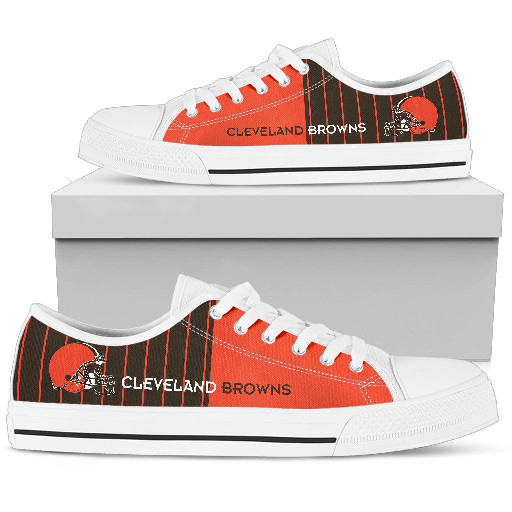 Simple Design Vertical Stripes Cleveland Browns Low Top Shoes