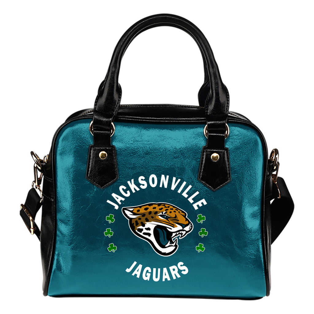 Central Beautiful Logo Circle Lucky Leaf Jacksonville Jaguars Shoulder Handbags