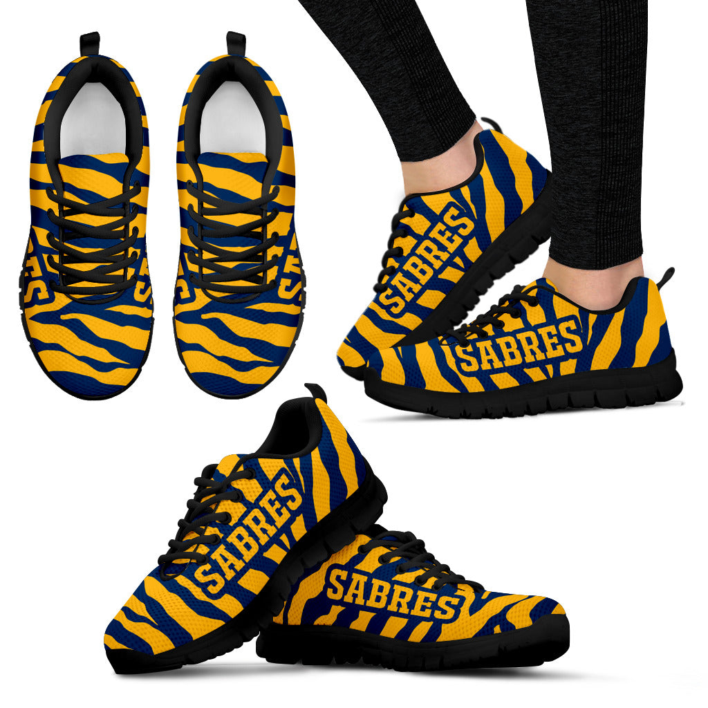 Tiger Skin Stripes Pattern Print Buffalo Sabres Sneakers