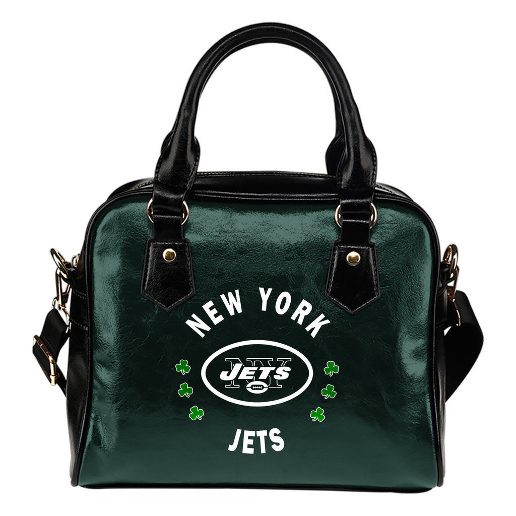 Central Beautiful Logo Circle Lucky Leaf New York Jets Shoulder Handbags