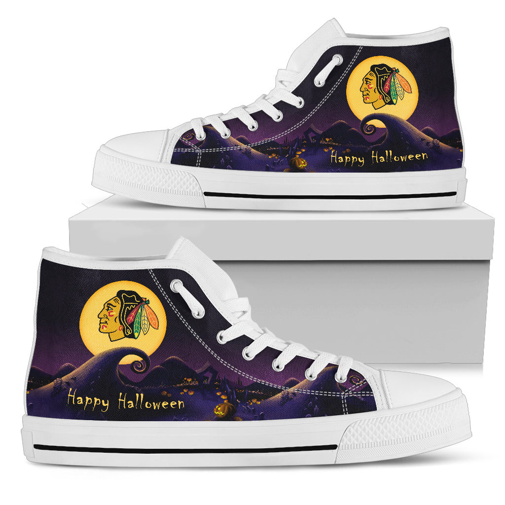 Before Christmas Nightmare Halloween Moonlight Chicago Blackhawks High Top Shoes