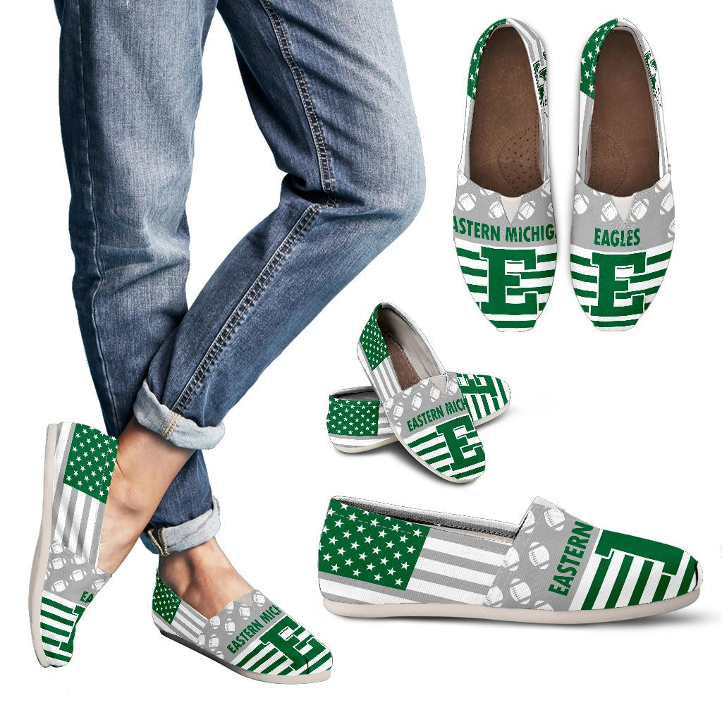 American Flag Eastern Michigan Eagles Casual Shoes