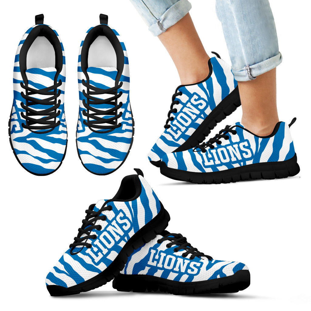 Tiger Skin Stripes Pattern Print Detroit Lions Sneakers