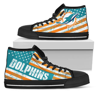 America Flag Italic Vintage Style Miami Dolphins High Top Shoes