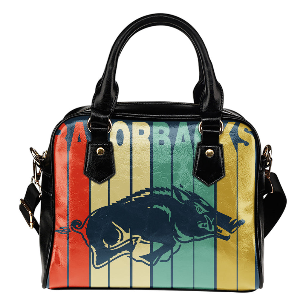 Arkansas Razorbacks Vintage Silhouette Shoulder Handbags - Best Funny Store