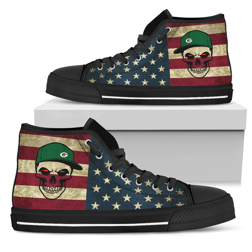 Skull Flag Vintage Style Green Bay Packers High Top Shoes