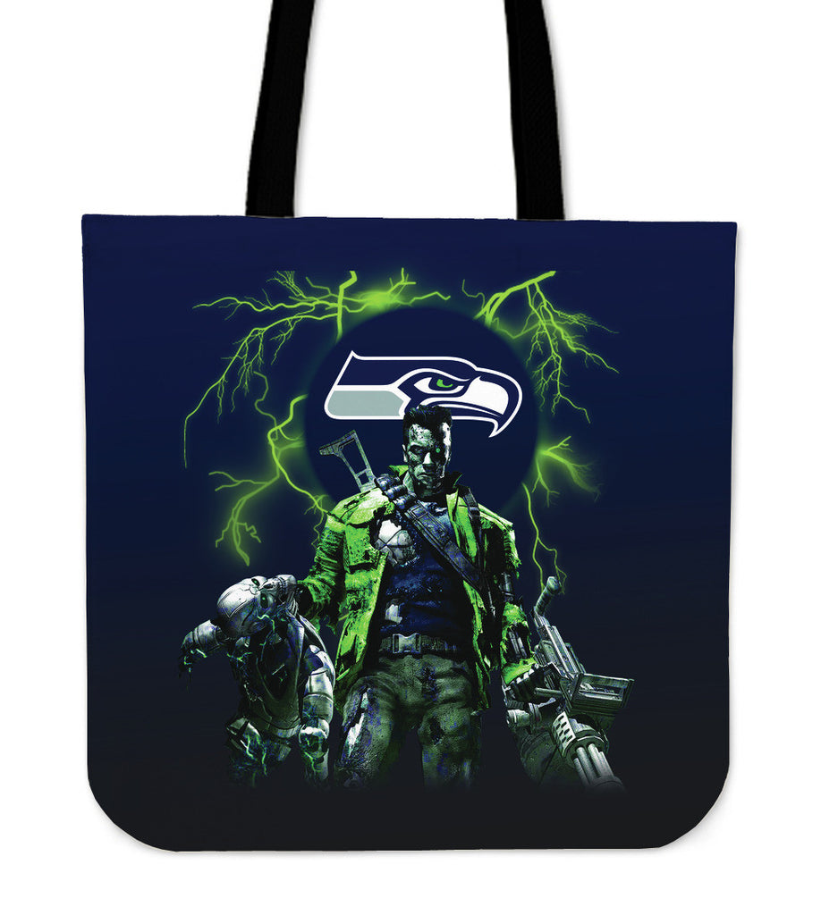 Seattle Seahawks Guns Tote Bag - Best Funny Store