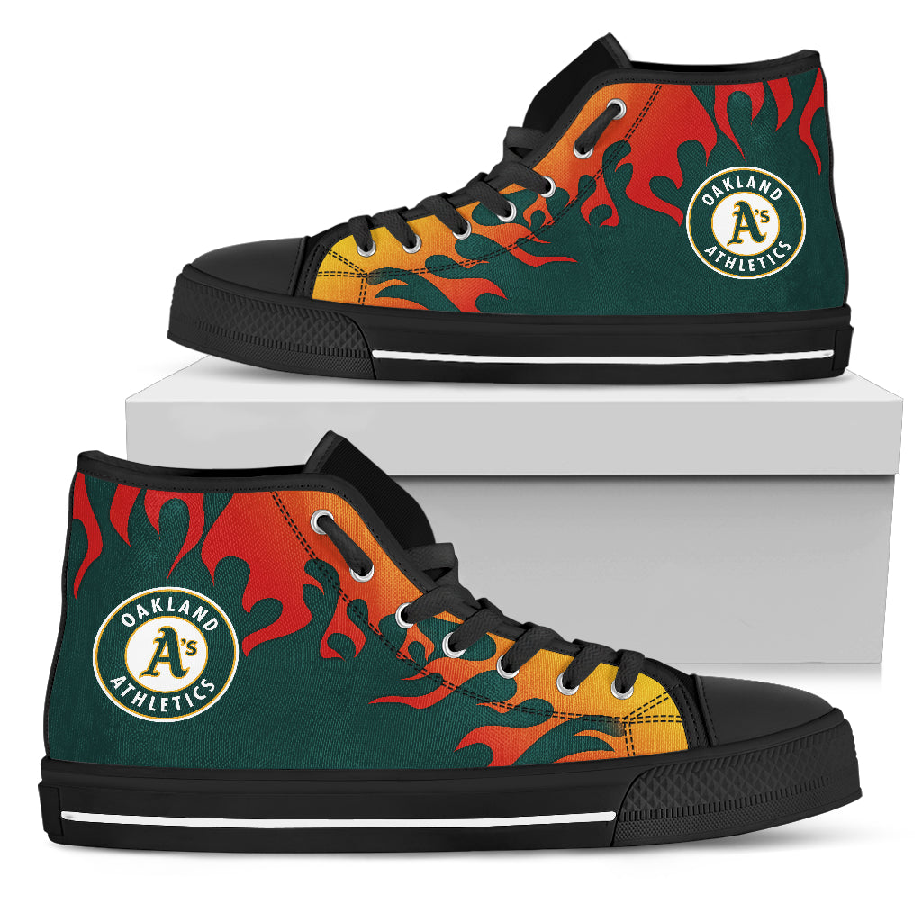 9f91877244272 Fire Burning Fierce Strong Logo Oakland Athletics High Top Shoes