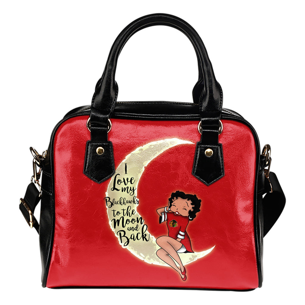 I Love My Chicago Blackhawks To The Moon And Back Shoulder Handbags - Best Funny Store