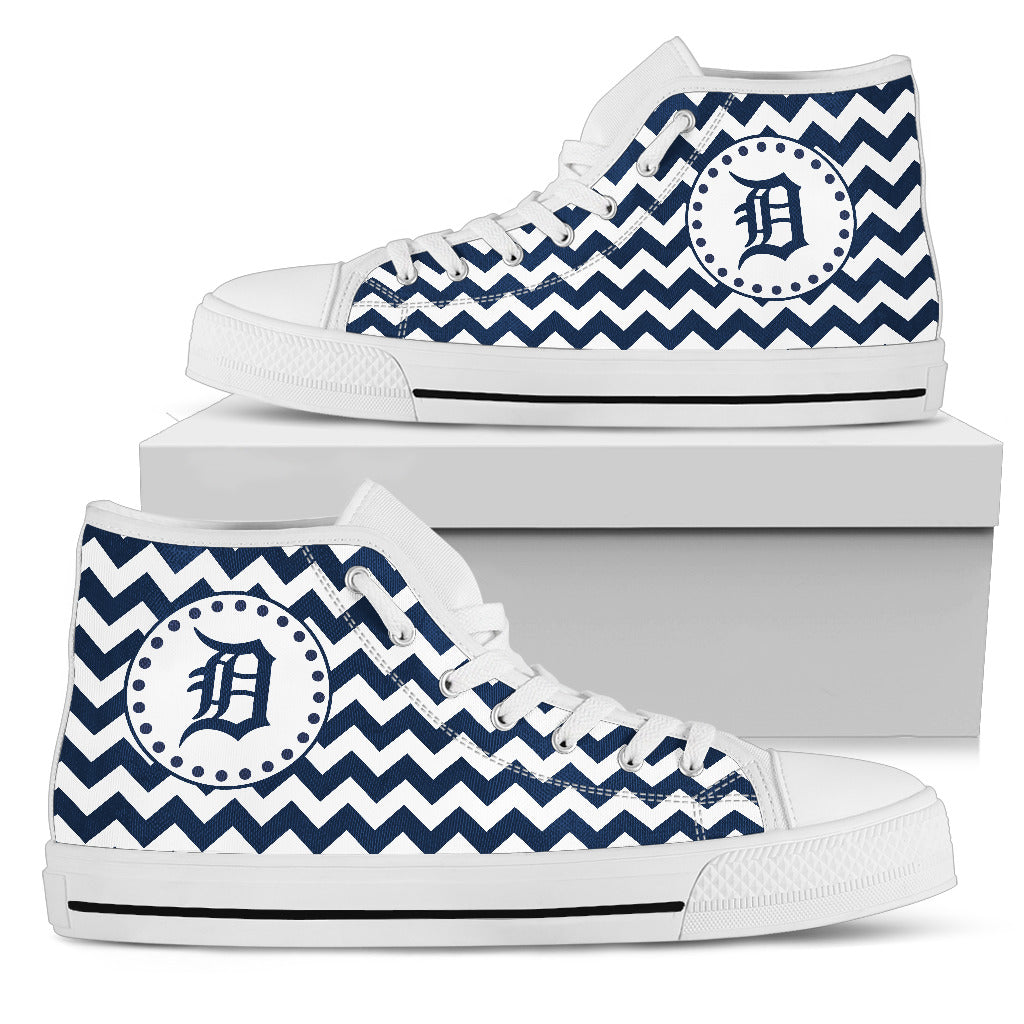 Chevron Broncos Detroit Tigers High Top Shoes