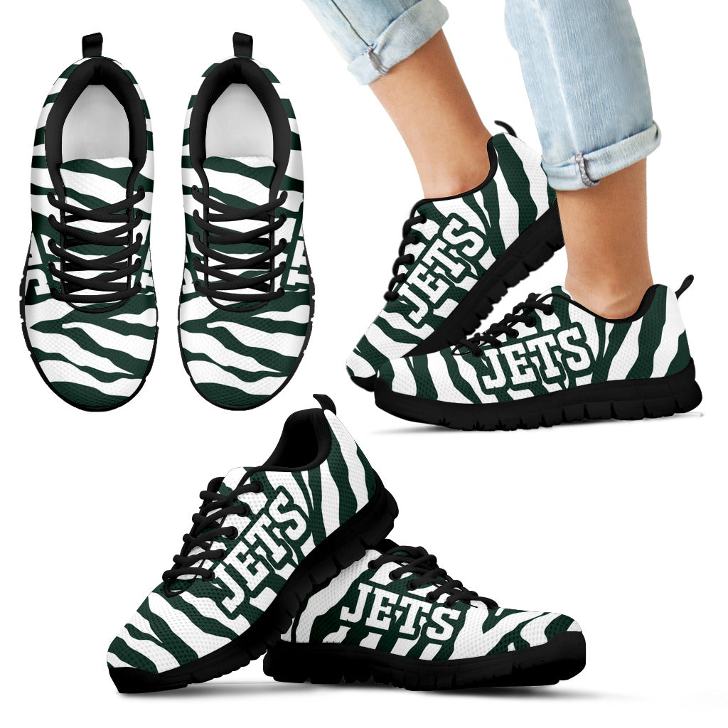 Tiger Skin Stripes Pattern Print New York Jets Sneakers