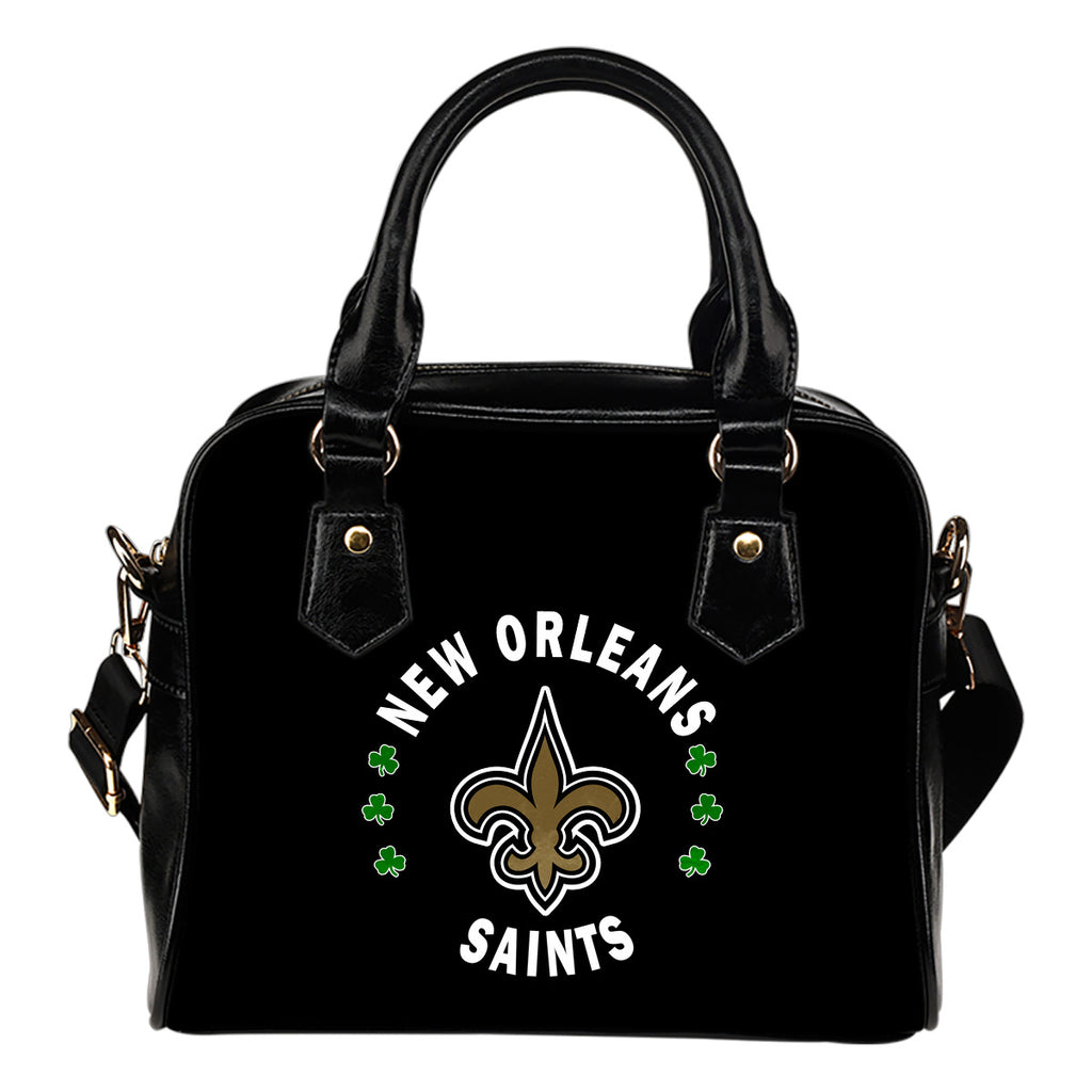 Central Beautiful Logo Circle Lucky Leaf New Orleans Saints Shoulder Handbags