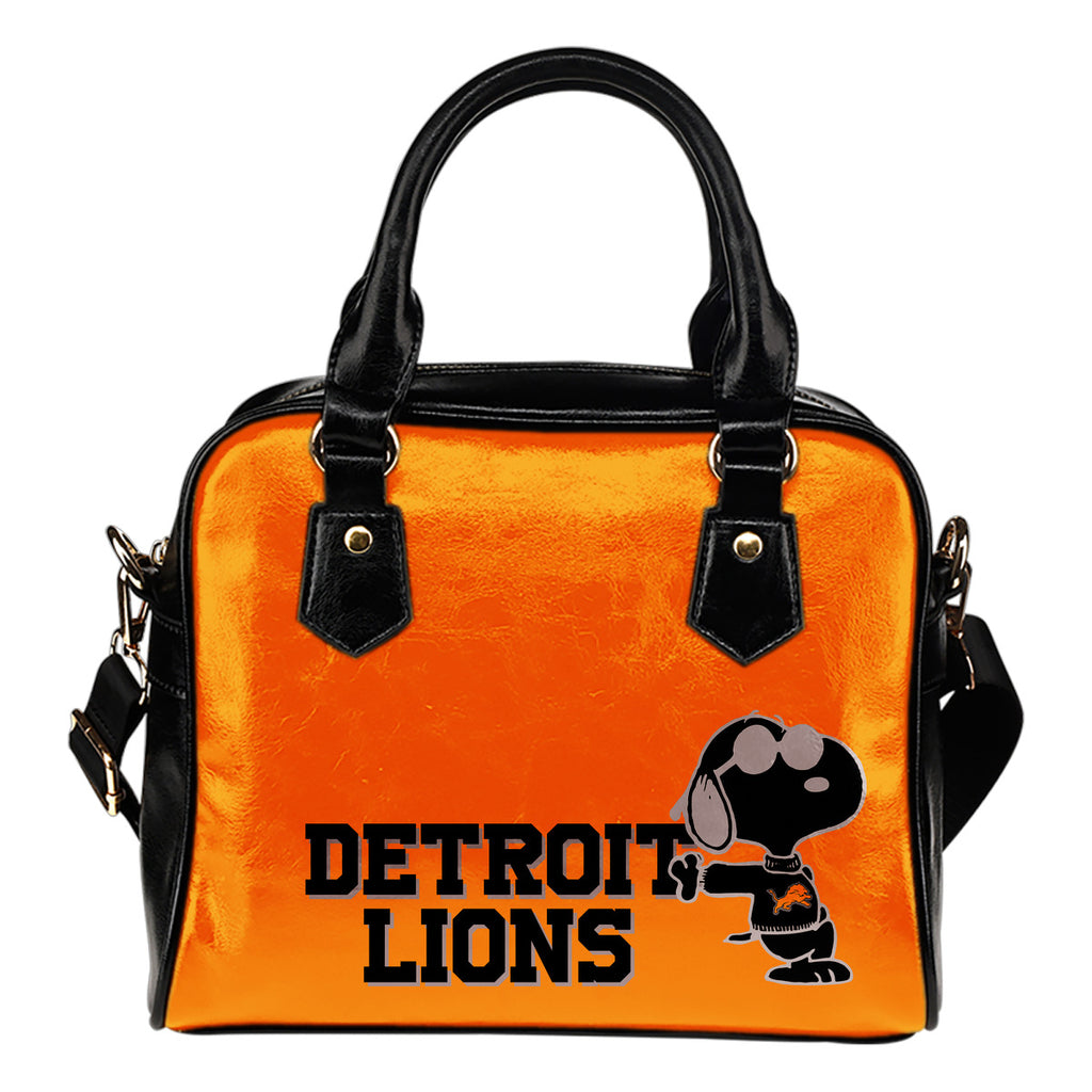 Detroit Lions Cool Sunglasses Snoopy Shoulder Handbags Women Purse