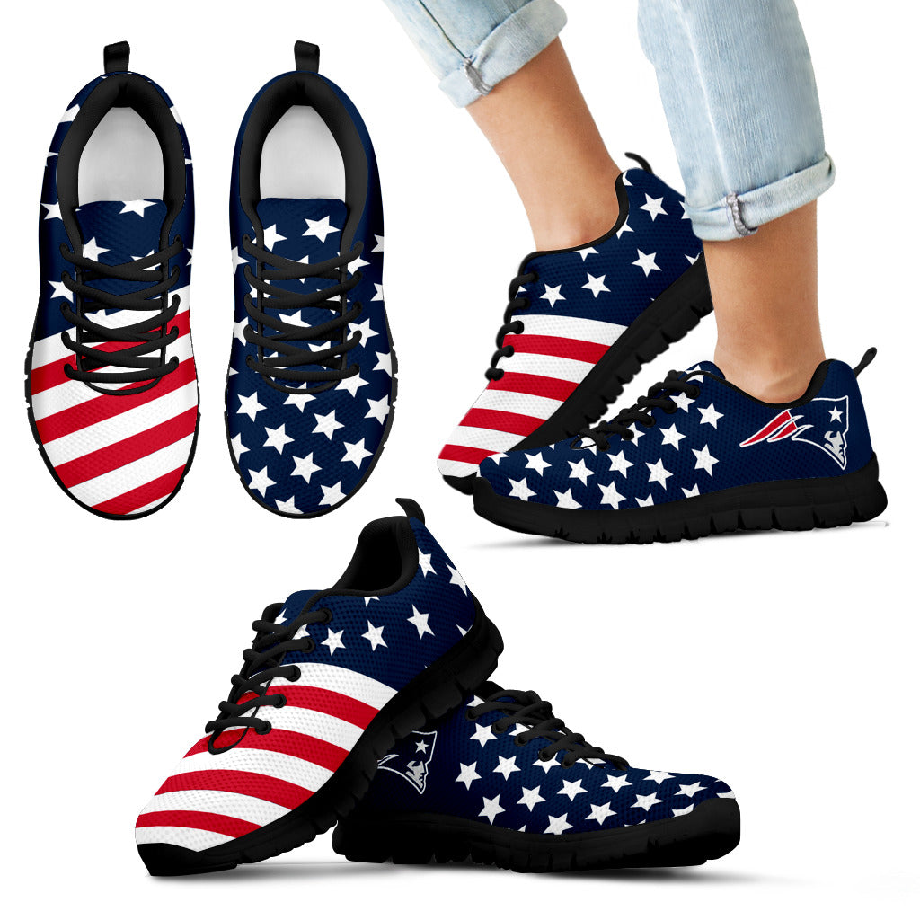 America Flag Full Stars Stripes New England Patriots Sneakers