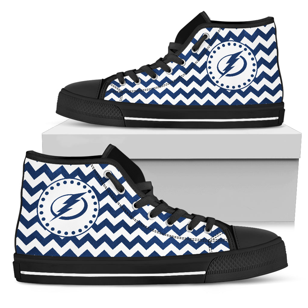 Chevron Broncos Tampa Bay Lightning High Top Shoes