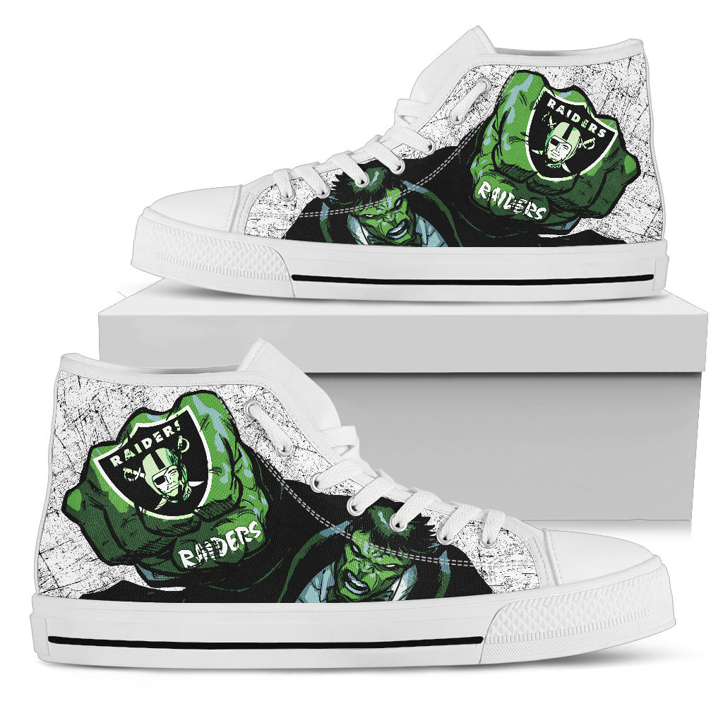Hulk Punch Oakland Raiders High Top Shoes