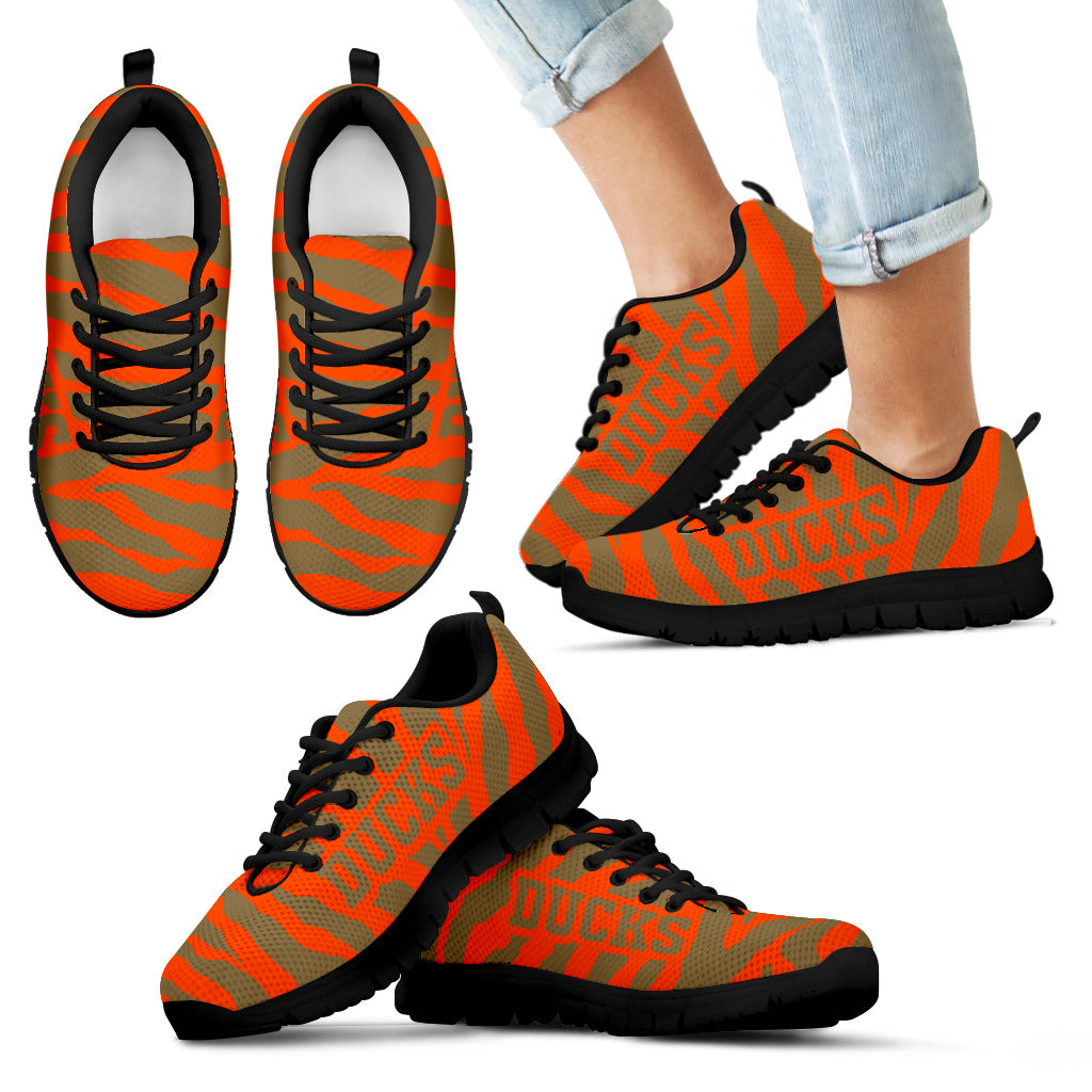 Tiger Skin Stripes Pattern Print Anaheim Ducks Sneakers