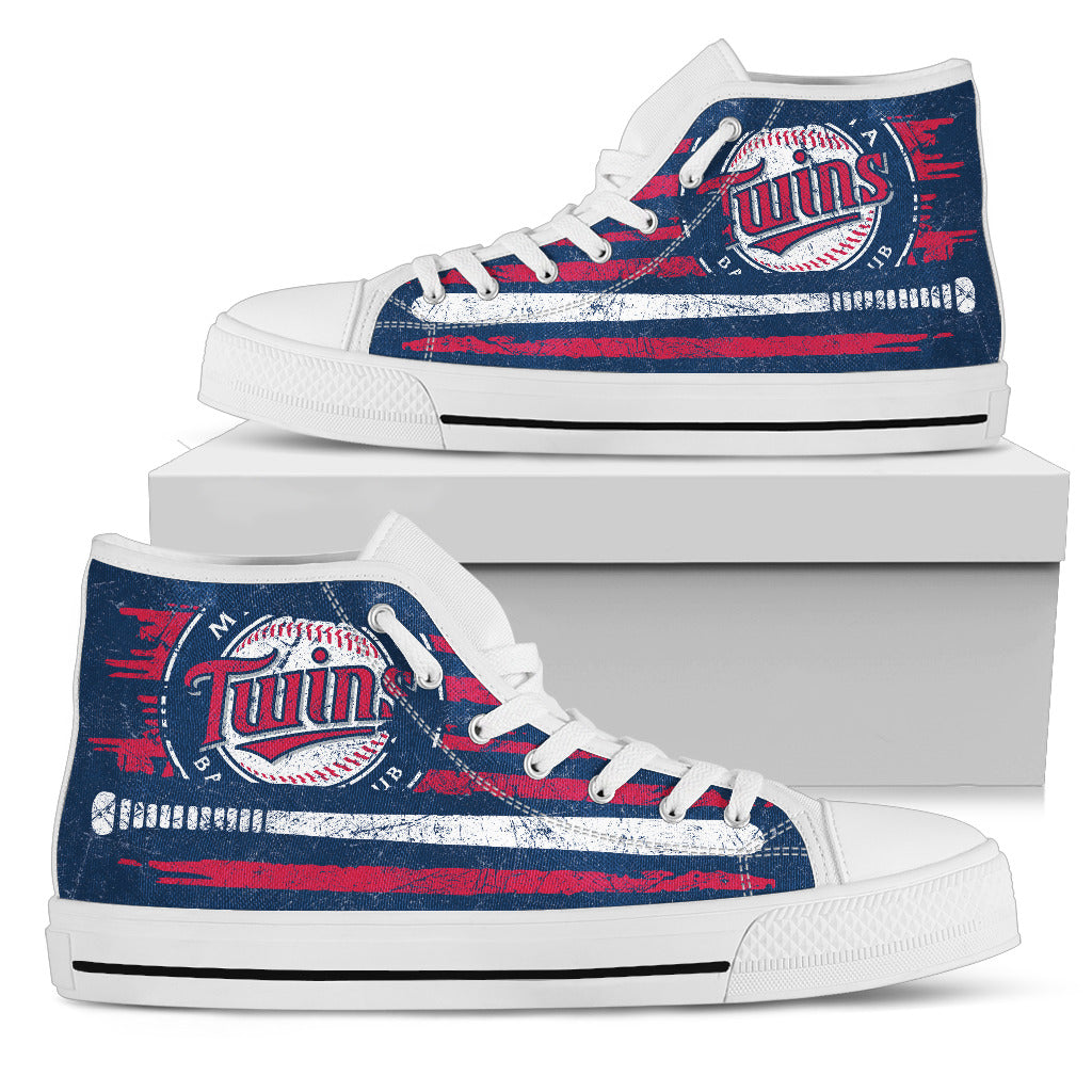 American Flag Vintage Baseball Minnesota Twins High Top Shoes