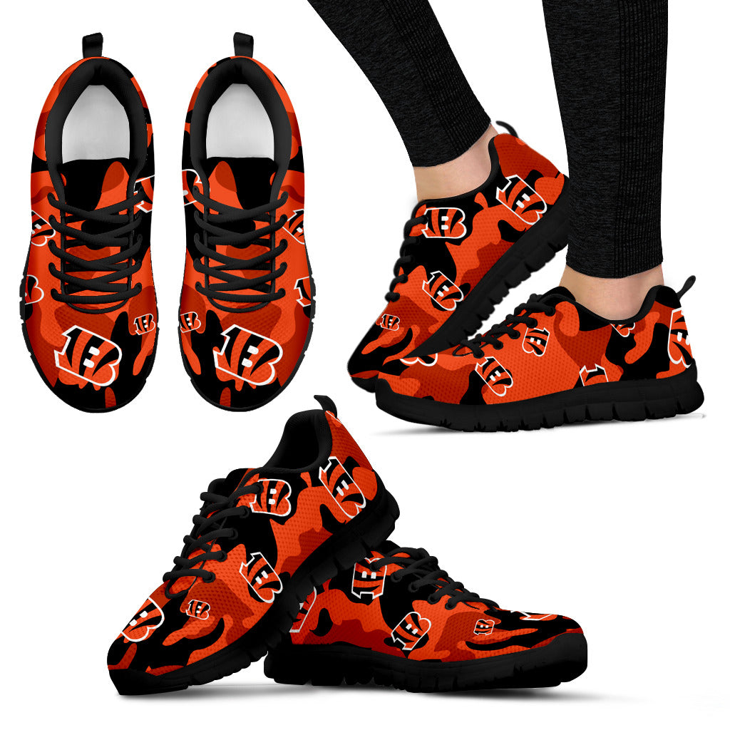Cincinnati Bengals Cotton Camouflage Fabric Military Solider Style Sneakers