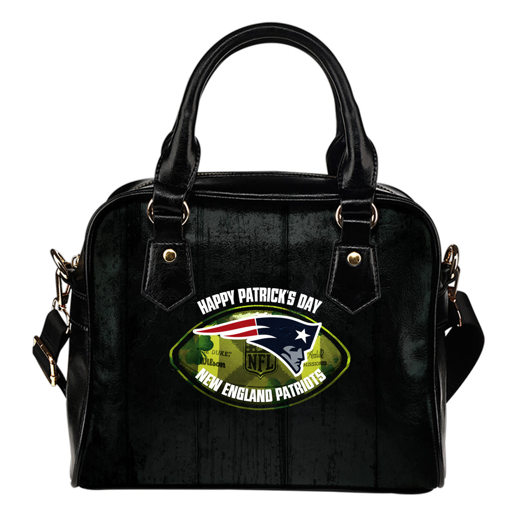 Retro Scene Lovely Shining Patrick's Day New England Patriots Shoulder Handbags