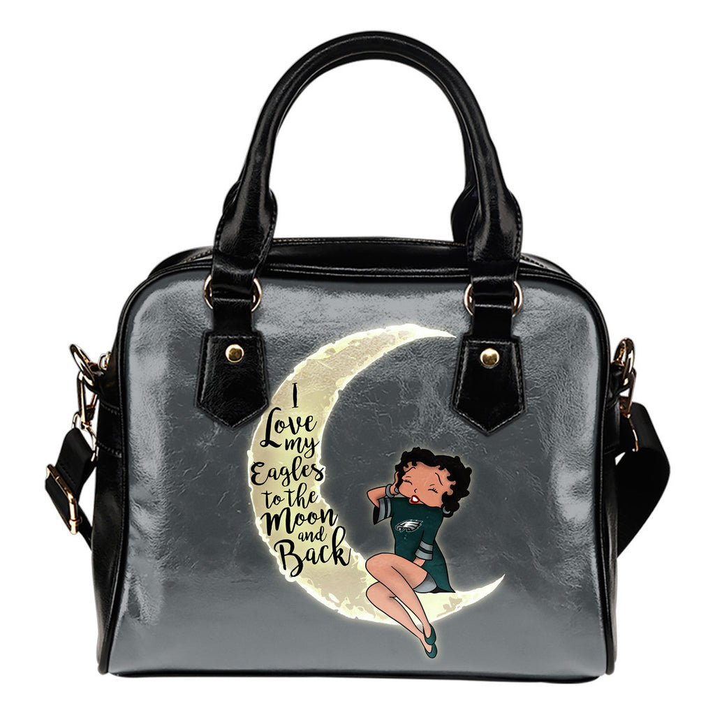I Love My Philadelphia Eagles To The Moon And Back Shoulder Handbags - Best Funny Store