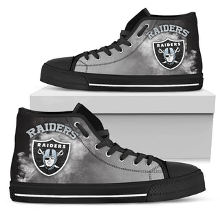 White Smoke Vintage Oakland Raiders High Top Shoes