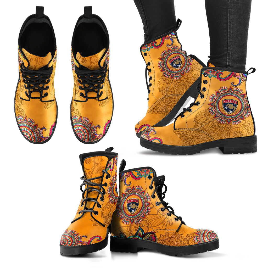 Golden Peace Hand Crafted Awesome Logo Florida Panthers Leather Boots