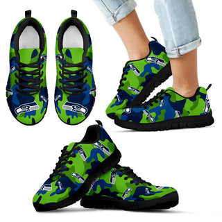 Seattle Seahawks Cotton Camouflage Fabric Military Solider Style Sneakers