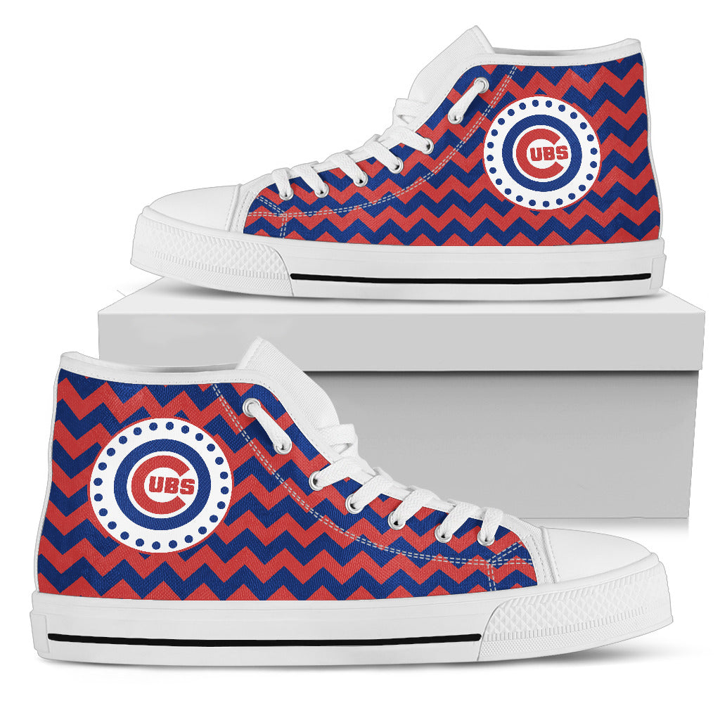 Chevron Broncos Chicago Cubs High Top Shoes