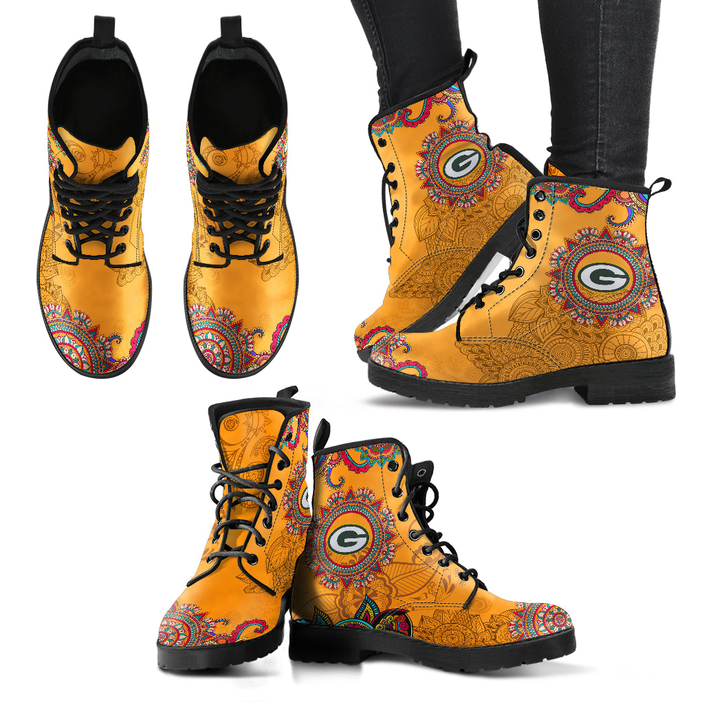 Golden Peace Hand Crafted Awesome Logo Green Bay Packers Leather Boots