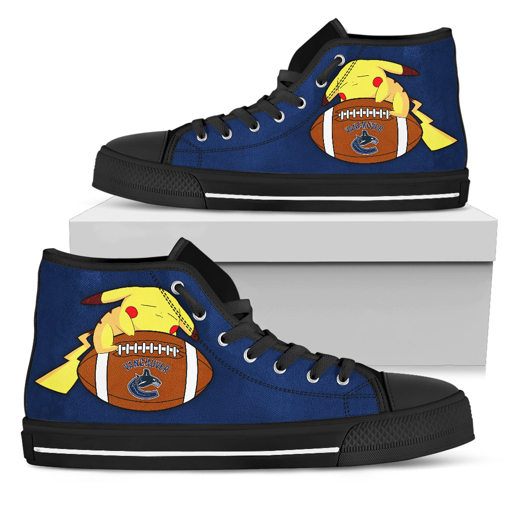 Happy Pikachu Laying On Ball Vancouver Canucks High Top Shoes