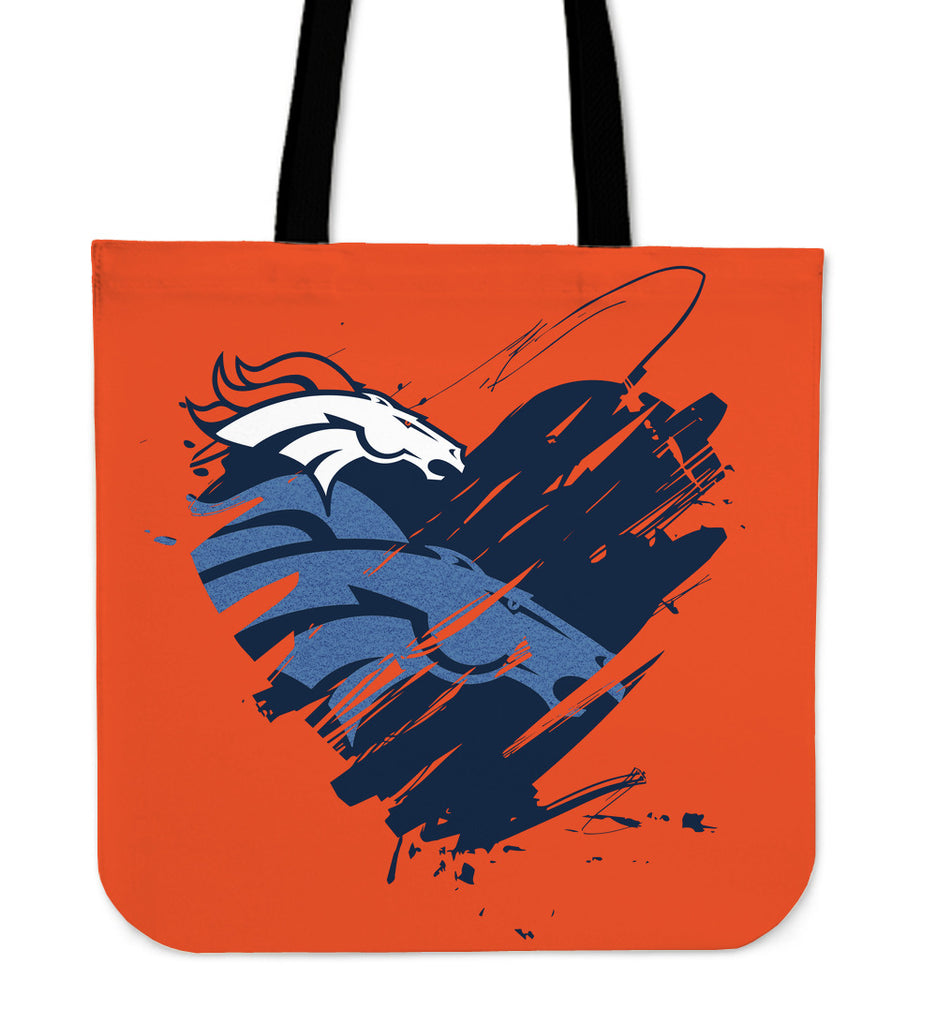 Heart Painting Denver Broncos Tote Bags