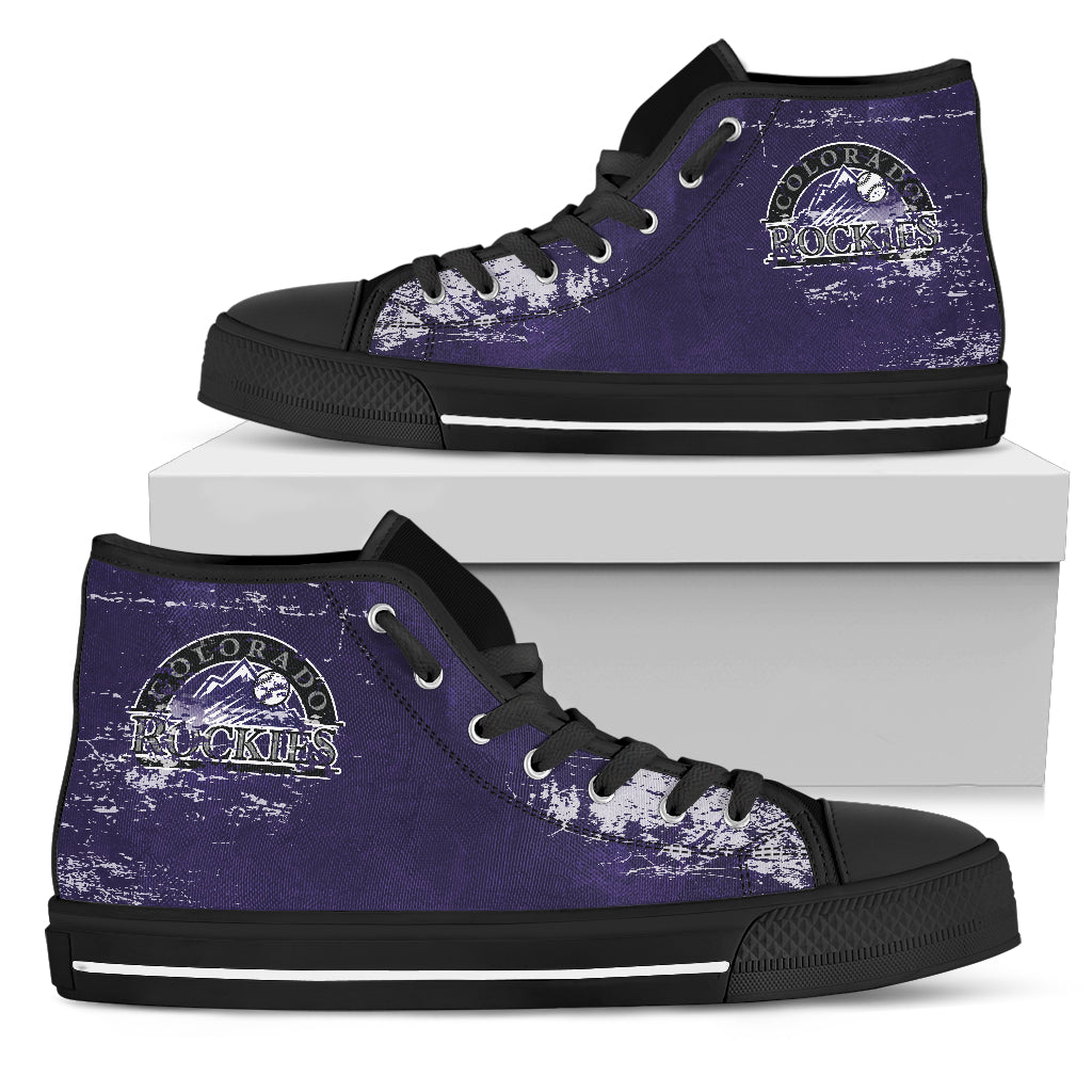 Grunge Vintage Logo Colorado Rockies High Top Shoes