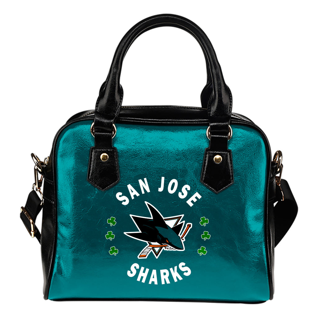 Central Beautiful Logo Circle Lucky Leaf San Jose Sharks Shoulder Handbags