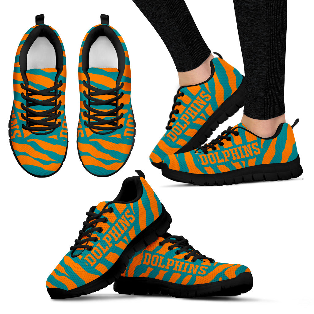 Tiger Skin Stripes Pattern Print Miami Dolphins Sneakers