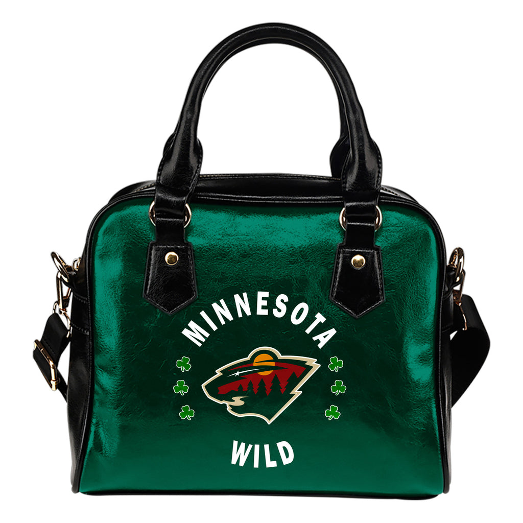 Central Beautiful Logo Circle Lucky Leaf Minnesota Wild Shoulder Handbags