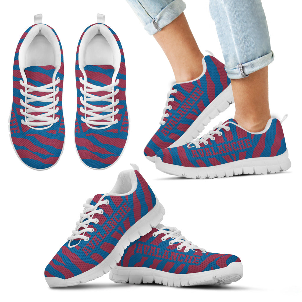 Tiger Skin Stripes Pattern Print Colorado Avalanche Sneakers