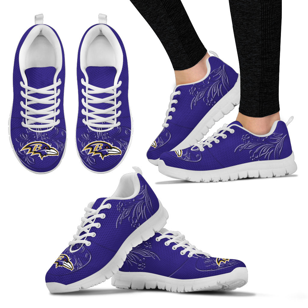 Lovely Floral Print Baltimore Ravens Sneakers