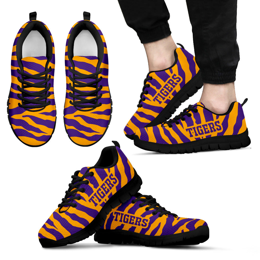 Tiger Skin Stripes Pattern Print LSU Tigers Sneakers