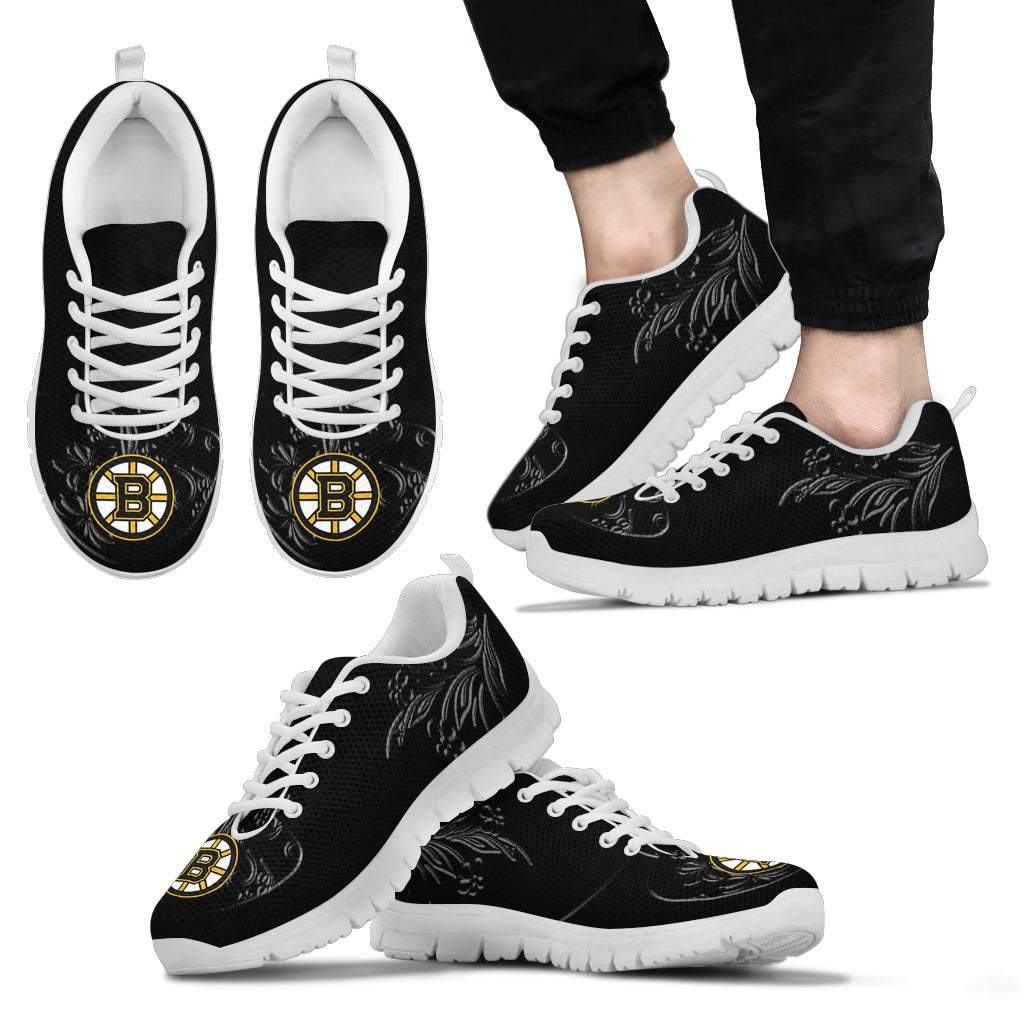 Lovely Floral Print Boston Bruins Sneakers