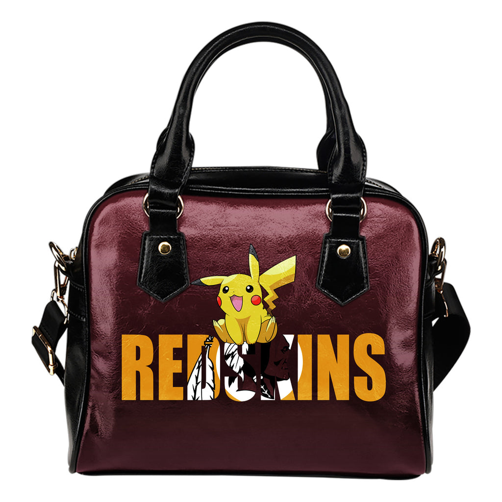 Pokemon Sit On Text Washington Redskins Shoulder Handbags