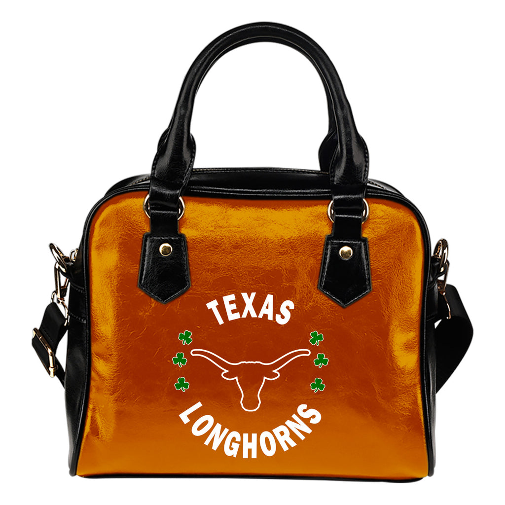 Central Beautiful Logo Circle Lucky Leaf Texas Longhorns Shoulder Handbags