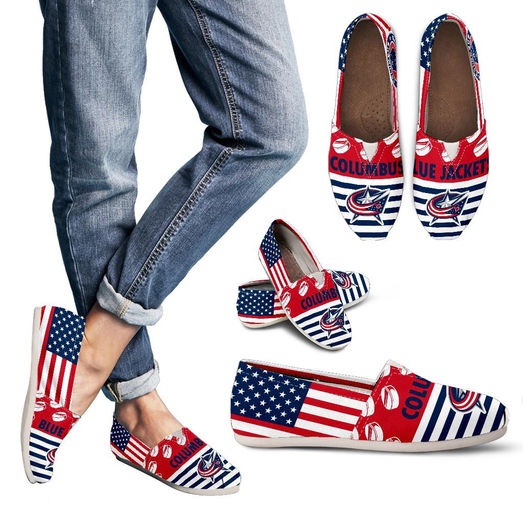 American Flag Columbus Blue Jackets Casual Shoes